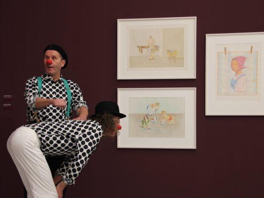 Mit den Clowns Manfred Köhler und Jörg Friedrich am Werk, Foto: Kunsthalle Tübingen