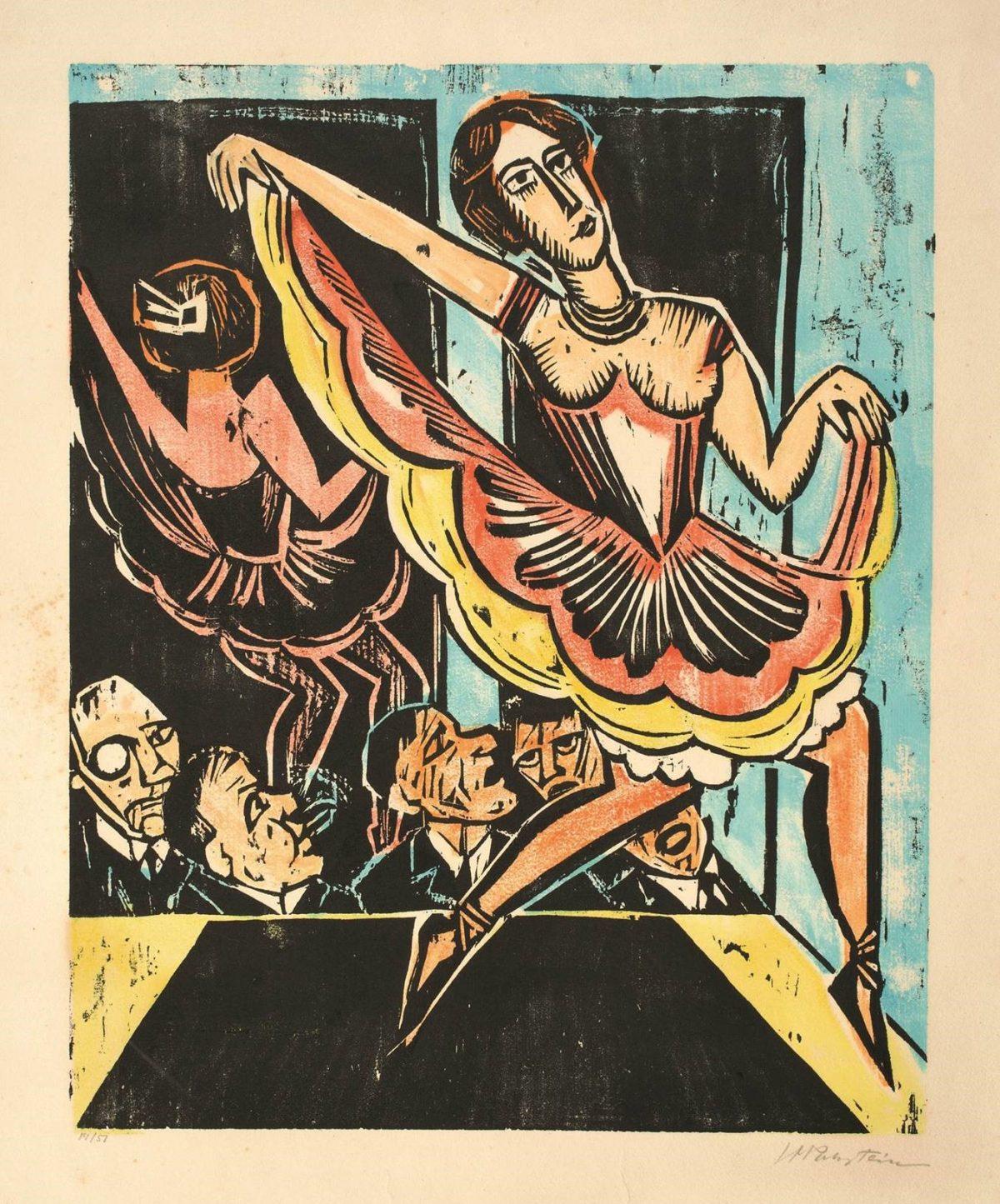Max Pechstein Tänzerin im Spiegel, Detail, 1923 Farbholzschnitt, 50x40 cm Privatsammlung Fotostudio Bartsch, Karen Bartsch, Berlin