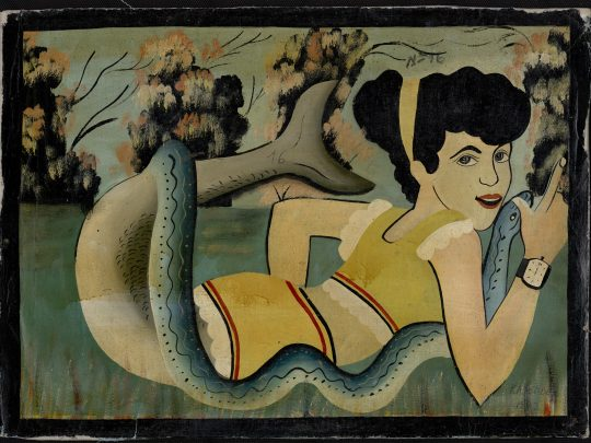 Kayembe F Mami Wata, Kinshasa, DRC, 1962, Öl auf Leinwand, 40 × 55,5 cm, HO.2013.57.1908, collection RMCA Tervuren