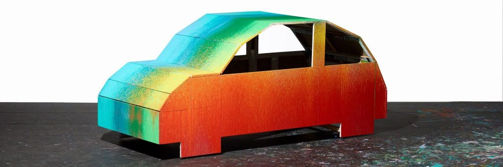 Daniel Knorr  Beetle, 2019 Aus der Serie LAUNDRY Performance Machine Painting 540 cm x 180 cm x 160 cm Acryl auf Leinwand Courtesy Sammlung Pohl Marburg  Fotograf: Hans-Jörg Walter © VG Bild-Kunst, Bonn 2020