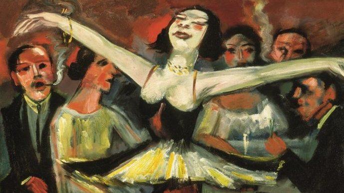 Max Pechstein Tänzerin in einer Bar, Detail, 1923/31 Öl auf Leinwand 90 x 90,5 cm Privatbesitz  © 2019 Pechstein – Hamburg/Tökendorf