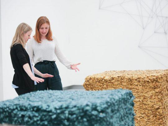 Lisa Maria Maier spricht mit Besucherin über das ausgestellte Kunstwerk. Foto: Wynrich Zlomke