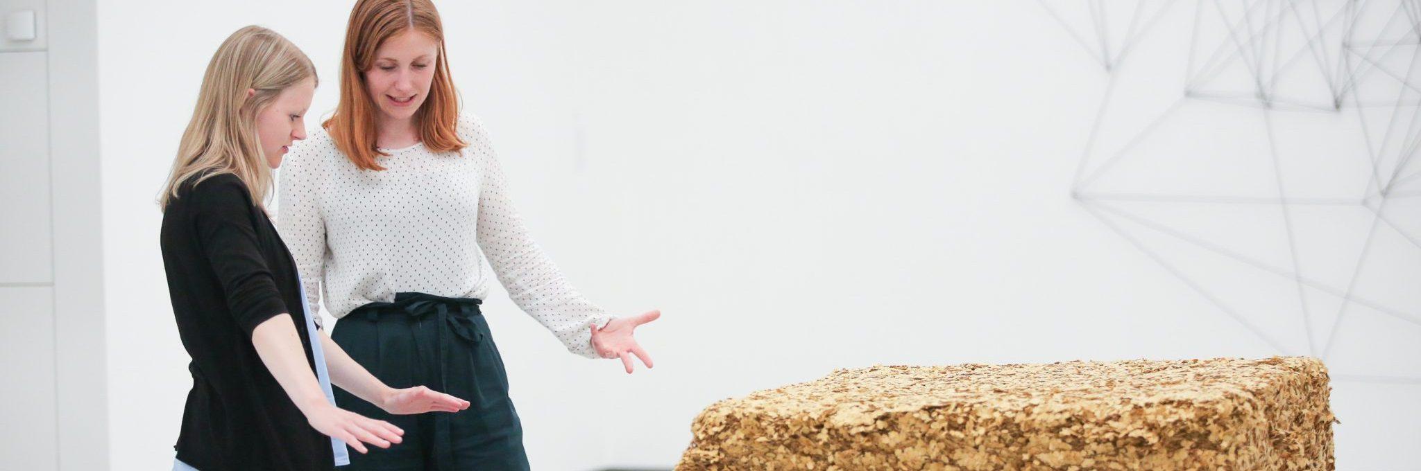 Lisa Maria Maier spricht mit einer Ausstellungs-Besucherin über ein ausgestelltes Werk. Foto: Wynrich Zlomke